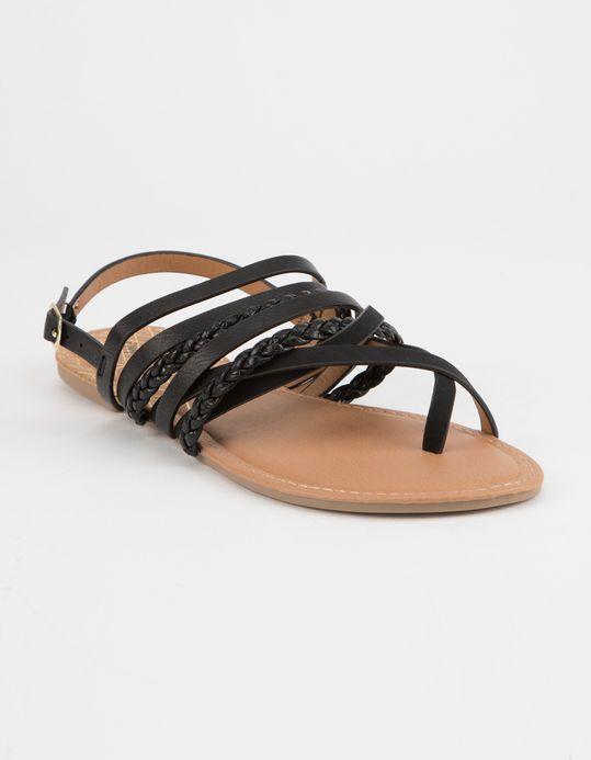 4104ba7ec12c35 QUPID Strappy Braided Toe Black Womens Sandals - BLACK - 329298100 ...