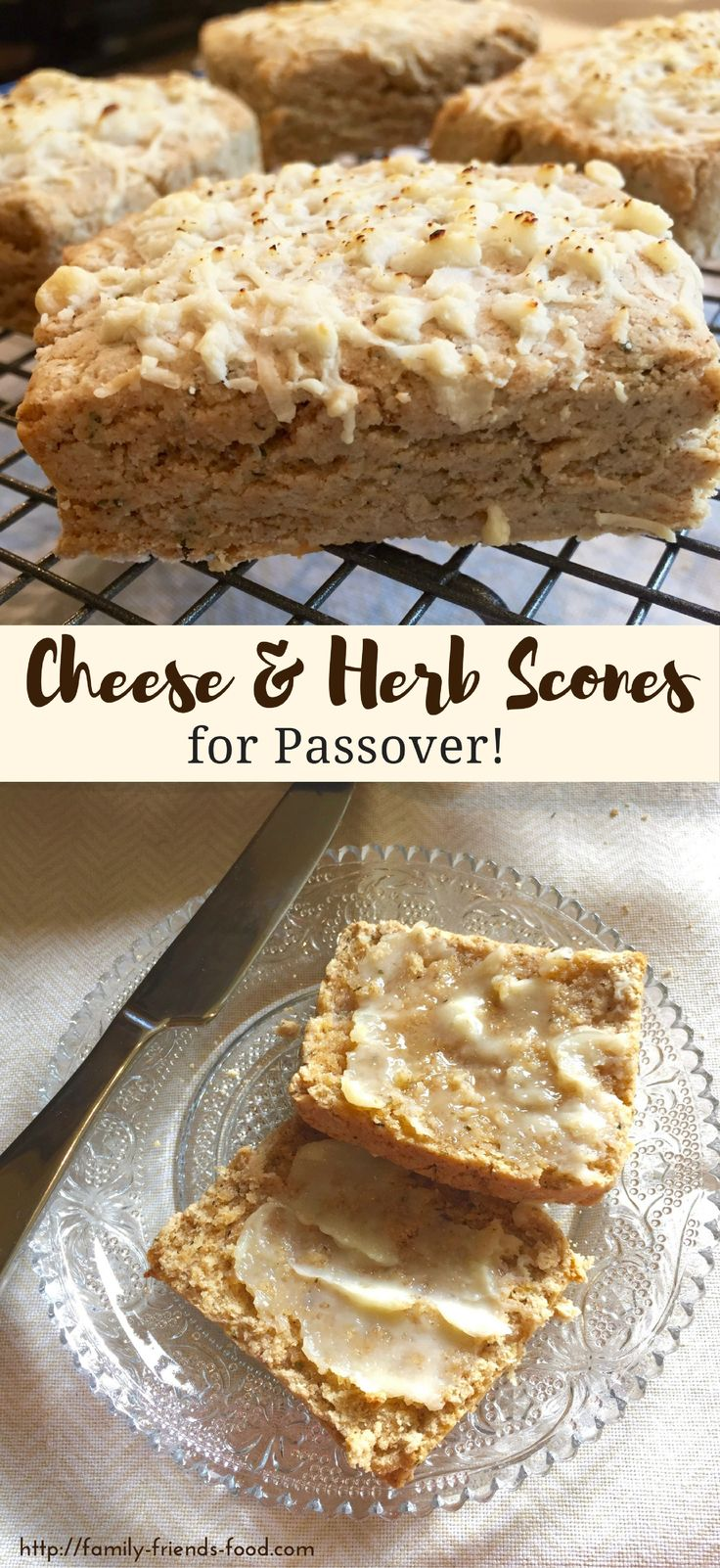These tasty, cheesy savoury scones have a light, flaky texture & a delicious flavour, & are completely kosher for Passover! Enjoy warm with plenty of butter.  #passover #pesach #kosher