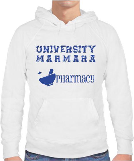 University Marmara Pharmacy Erkek Sweat Kendin Tasarla - Erkek Kapşonlu Sweatshirt