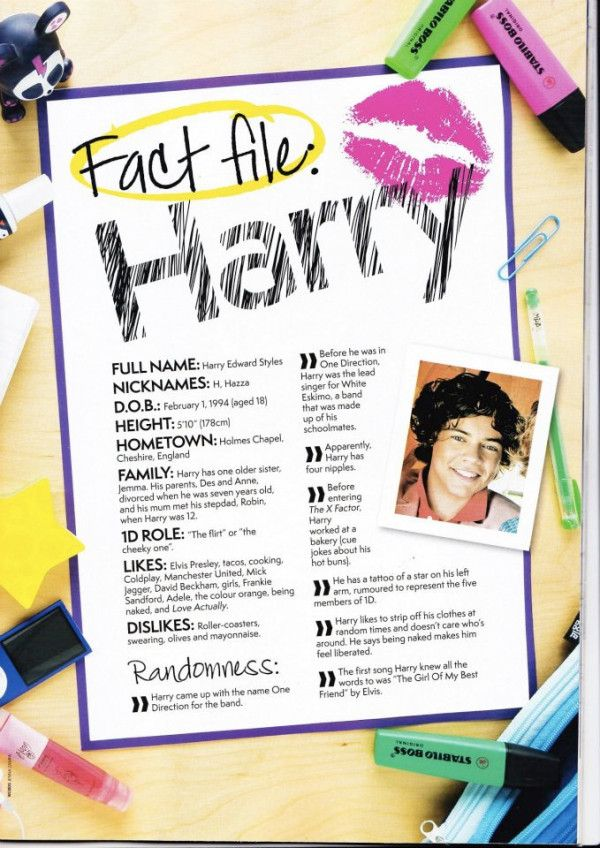 Fact File Harry. Hahah height 5'10, they spelt Gemma wrong and... One of his likes is girls hahahah well obviously!:)