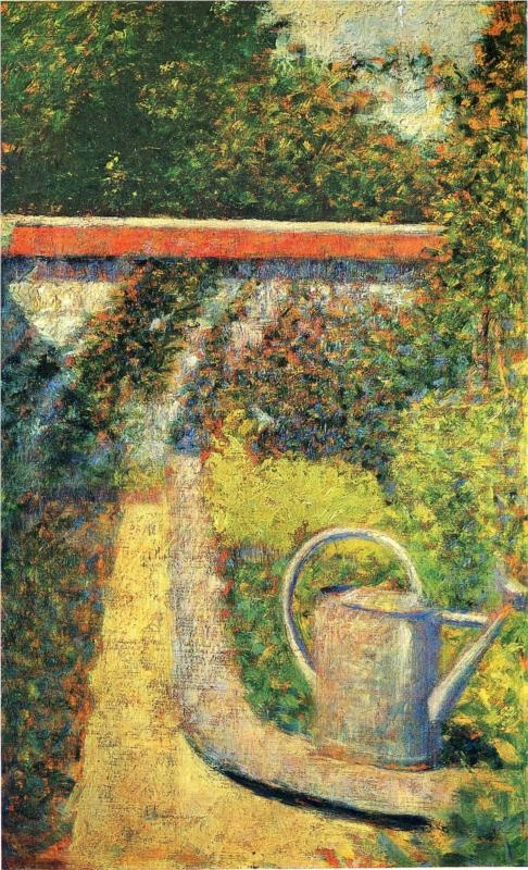 The Watering Can, 1883, oil on wood, 24.8 x 15.2 cm. National Gallery of Art, Washington, USA. Pointillism, Georges Seurat (1859- 1891).