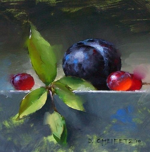 Grapes and Plum ~ Painting by D. Cheifetz