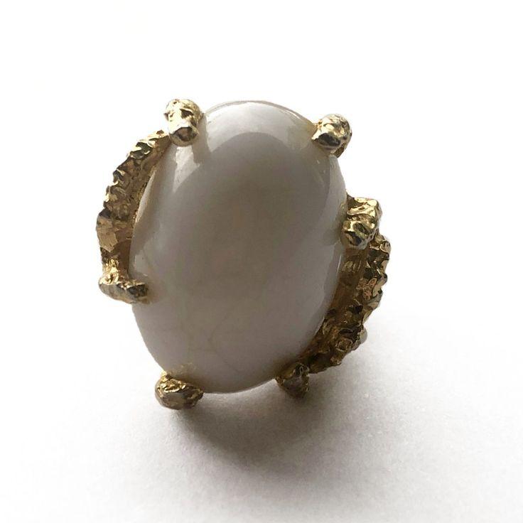 White Domed Adjustable Ring