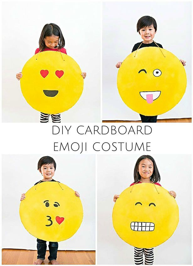 Easy DIY Cardboard Emoji Costumes! So cute and they make a great family costume idea too!
