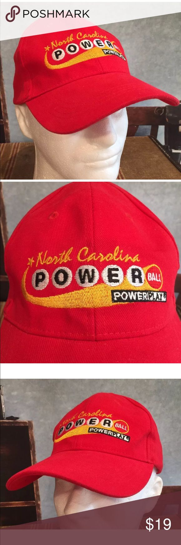 North Carolina Powerball Lottery Red Hat This listing is for a North Carolina Powerball Lottery Adjustable Red Hat Cap. It has embroidered NC Powerball logo on front.  Comes from a smoke free pet free environment. Will be shipped in a box. Unbranded Accessories Hats