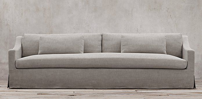Restoration Hardware - Belgian Classic Slope Arm.  6 lengths, 2 depths, 93 fabrics. Slipcovered & upholstered. Shown in fog Belgian Linen. Starting at $1695 retail.