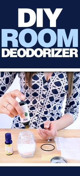 A simple, yet effective room deodorizer, which costs pennies!  Cheese shaker, baking soda, 10 drops of essential oils, cover with cheesecloth and shake every few days to stir up the scent.  Works like a charm!