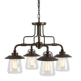 Allen + Roth Bristow 24.02-In 4-Light Specialty Bronze Rustic Clear Glass Shaded Chandelier 34685
