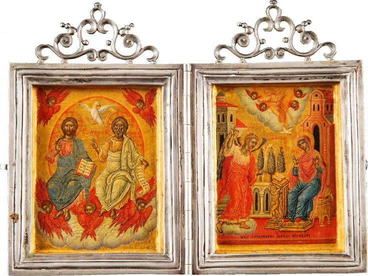 Diptych.New Testament Trinity & Annunciation. signed Emmanuel Tzanes. H.Korban collection