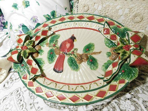 Cracker Barrel Plaid Tidings Platter Cardinal Bird, Vintage Cracker Barrel Platter, Vintage Platter, Vintage Dishes, Cardinal Birds,