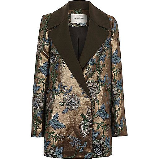 Jacquard fabric with woven lining Tonal floral detail Contrast woven lapels Long sleeve Concealed popperfastening
