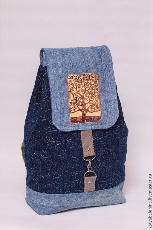 Купить Джинсовый рюкзак Густав Климт школьный городской - синий, орнамент, Густав Климт, джинс
