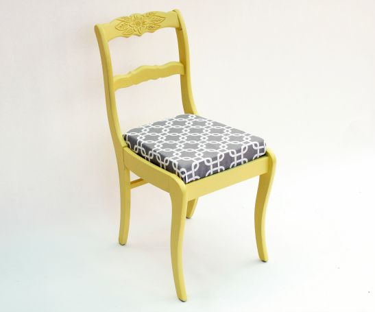 Super adorable yellow and gray chair painted with FolkArt Milk Paint - Love this inexpensive and easy furniture makeover!