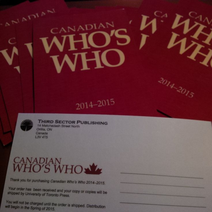 If you have reserved your Canadian Who's Who 2014-2015 you will be receiving a cute Canadian Who's Who postcard with your details.