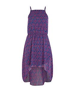 Teens Blue Aztec Print Dip Hem Dress | New Look