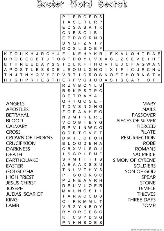 Easter Word Search - Sunday School Activity  website has good material