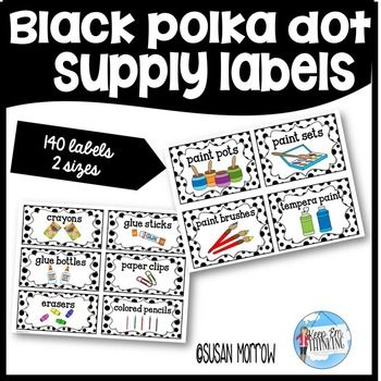 Black and White Polka Dot Supply Labels Editable! This 67 page resource is a great way to get your classroom or homeschool supplies labeled and organized! Give every supply a home with this set of 140 Black Polka Dot Labels! It's great for your preschool, Kindergarten, 1st, 2nd, 3rd, 4th, 5th, or 6th grade students. Click through now for all the details! {preK, Kinder, first, second, third, fourth, fifth, sixth grader} $