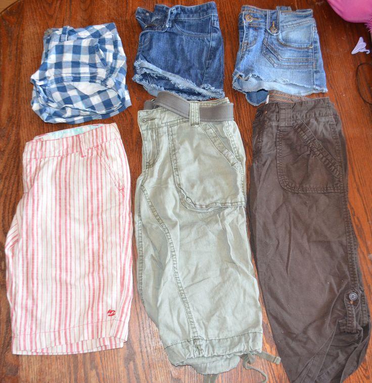 Size 0 Plaid Aeropostale stretch, Navy blue West 49 shorts, Streetwear society blue jean, Tan and red Billabong walking shorts, Khaki bluenotes capris, brown Bluenotes capris
