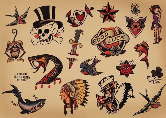 American Traditional Tattoo Old School Vintage Style In 2020 Sailor Jerry Tattoos Sailor Tattoos Sailor Jerry Tattoo Flash