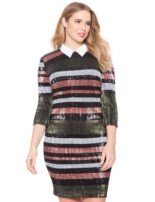 Studio Collared Striped Sequin Dress from eloquii.com