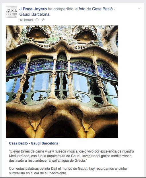 """""""Elevar torres de carne viva y huesos vivos al cielo vivo por excelencia de nuestro Mediterráneo, eso fue la arquitectura de Gaudí, inventor del gótico mediterráneo destinado a resplandecer al sol antiguo de Grecia."""" Con estas palabras definía Dalí el mundo de Gaudí, hoy recordamos al pintor surrealista en el día de su nacimiento. https://www.facebook.com/casabatllo https://www.facebook.com/joyeriarocabarcelona"""