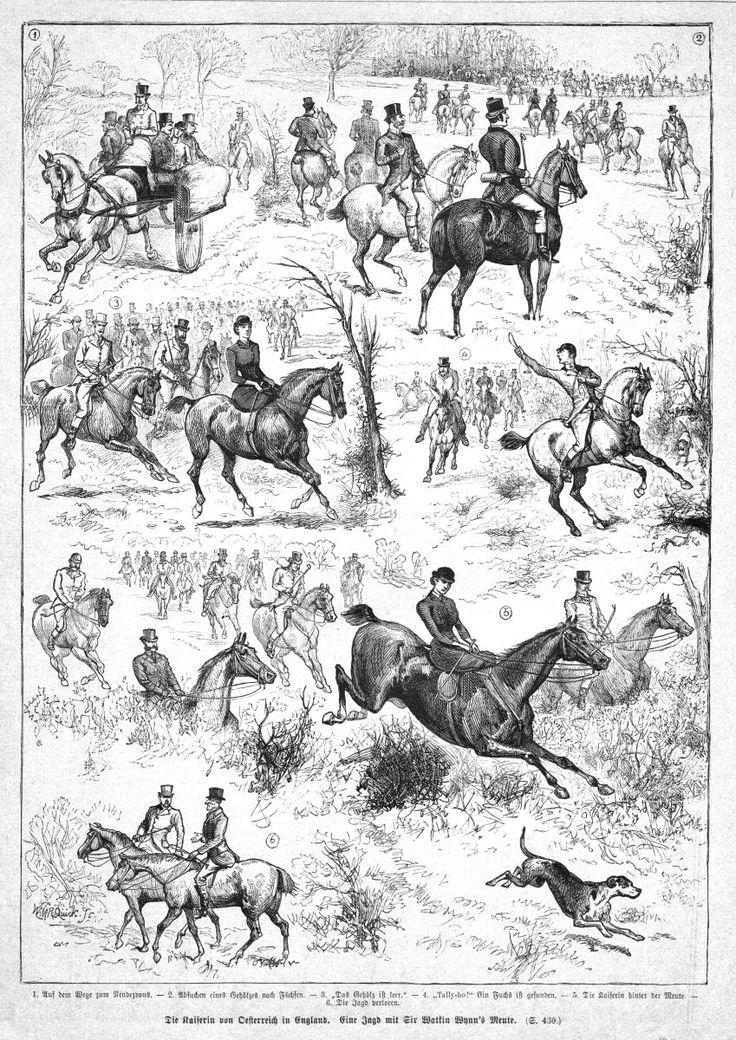 Sisi, Sissi, Kaiserin von Österreich, Parforcejagd in England,Holzstich von 1882 | eBay