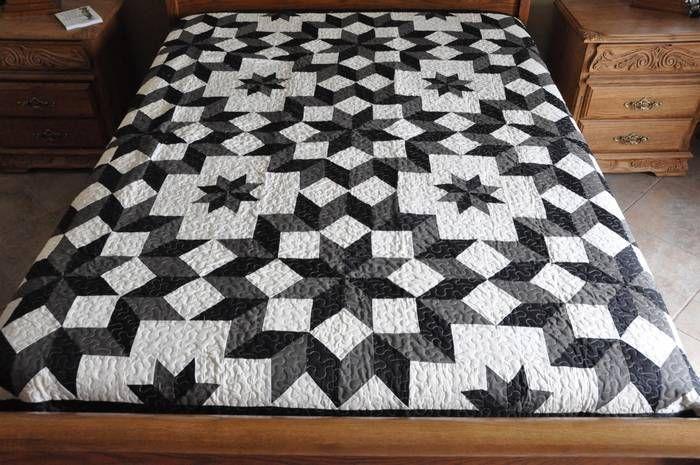 King   size machine pieced Carpenter Star Patchwork quilt  / #J-6Qc