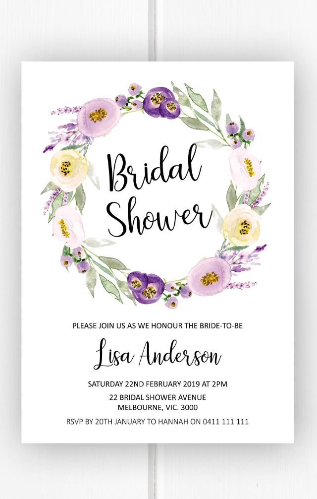 photo relating to Bridal Shower Invitations Printable named Bridal shower invitation printable, pink wreath bridal