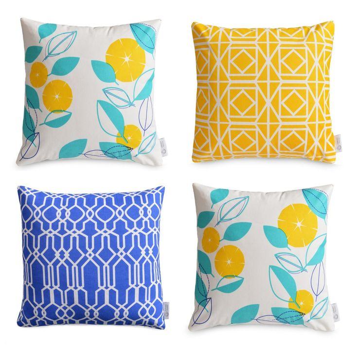 4 X Geometric/Floral WATERPROOF OUTDOOR Cushion Covers | Greek Blue,  Yellow, Aqua