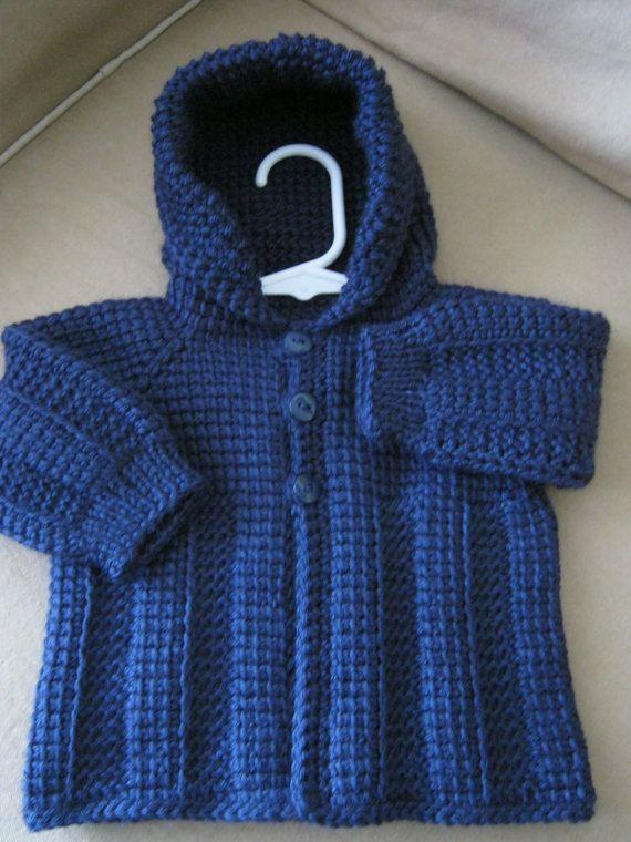 Dark Navy Blue Crochet Baby Boy Sweater with Hood. 0-6 Months in Tunisian Crochet - Handmade