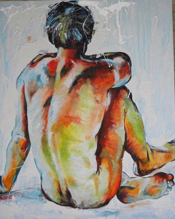 """""""ETRE"""" Assis - Peinture,  80x100 cm ©2012 par Mahé -                            Nu, homme, nu, couleur"""