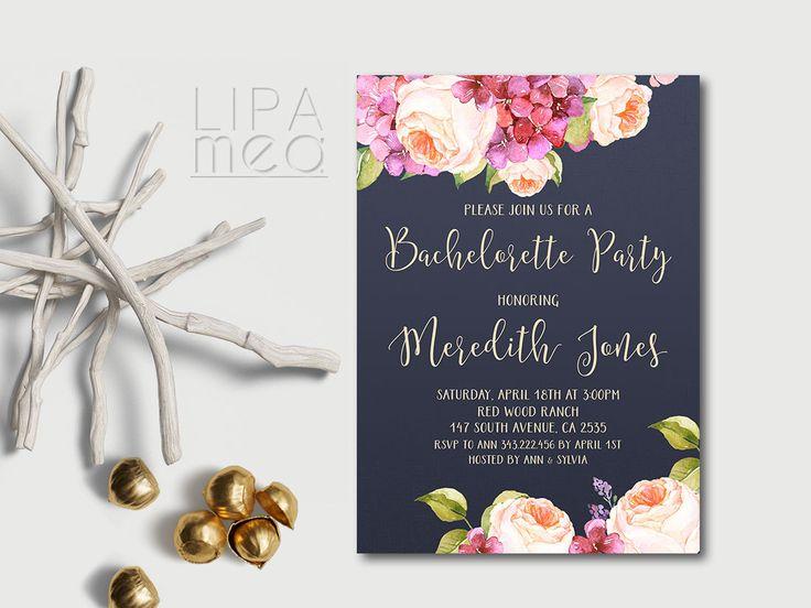 Printable Bachelorette Invitation, Floral Bachelorette Party Invitation Printable, Navy Bachelorette Invite, Hens Night Invitation - pinned by pin4etsy.com
