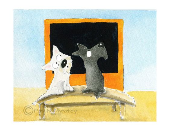 Westie & Scottie Studying Rothko , printed on Fine quality photographic paper, 300gsm.  Printed with UltraChrome K3 pigment ink.  8 X 6 Inches