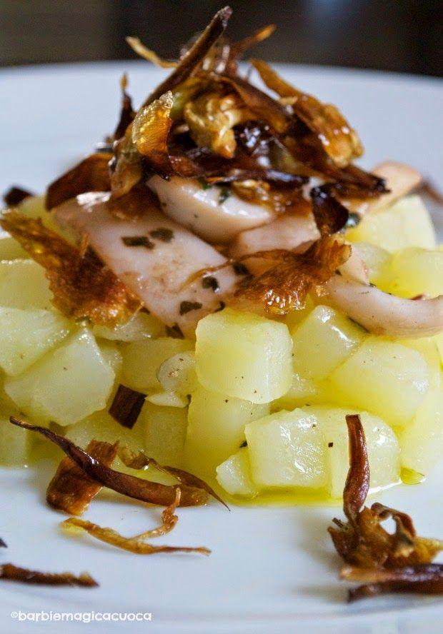 Seppie al profumo di limone su insalata di patate e carciofi croccanti