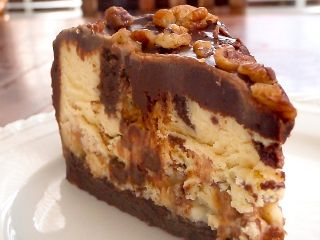 Chocolate, caramel, and cookie dough cheesecake!