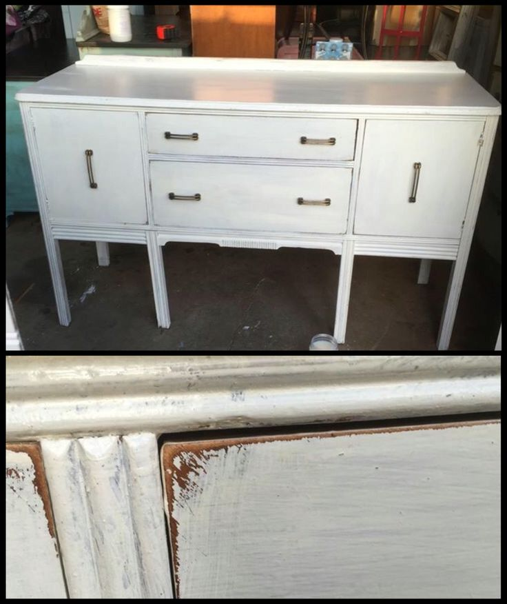 Buffet painted in Fresh Sweet Cream by Bethany Vanderzanden with the best chalk type paint ever- Miss Lillian's No-Wax Chock Paint! It's chock-full of colorful goodness!! Contact the Rebirth Attic for a free color consultation✌🏼️💜🎨 painted furniture