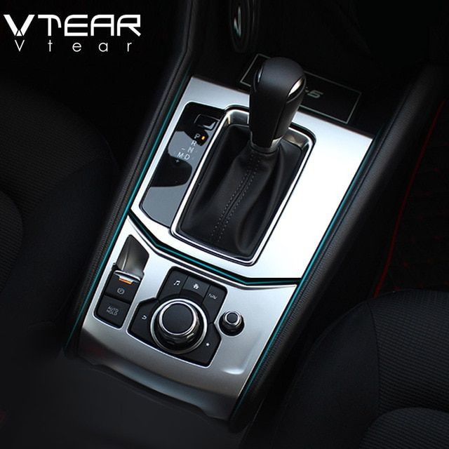 92f7275b9fd Vtear For Mazda CX-5 CX5 2017 2018 accessories Central control AT Gear  Panel trim Covers Interior stainless steel decoration Review