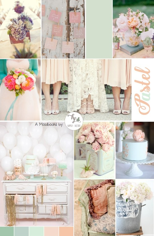 #pastel #mint #peach #wedding #Happily Factory