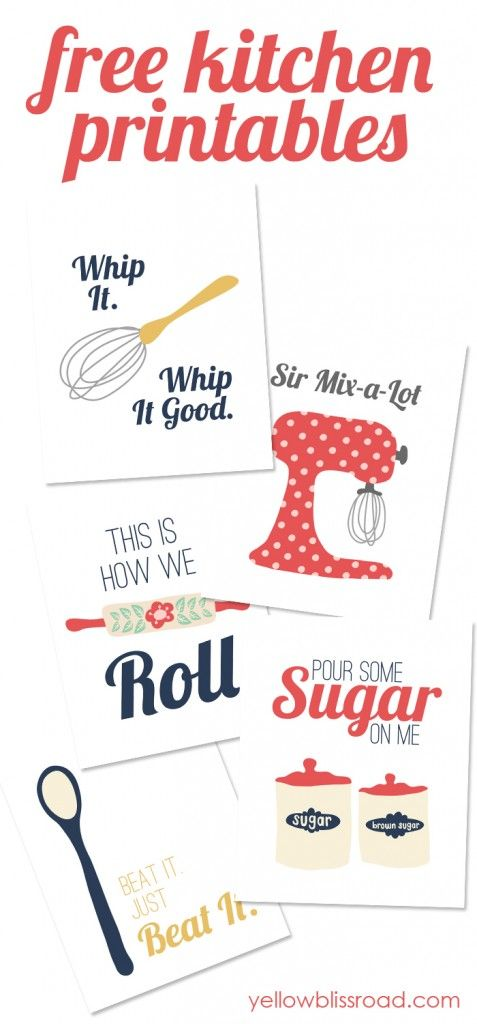 Gorgeous free printables for the kitchen! Love the music lyric references!!