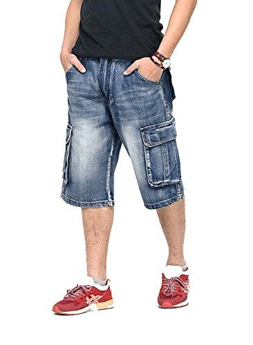 Olrain Men's Multi Pockets Plus Washed Hip Hop Jeans Denim Shorts at Amazon Men's Clothing store: