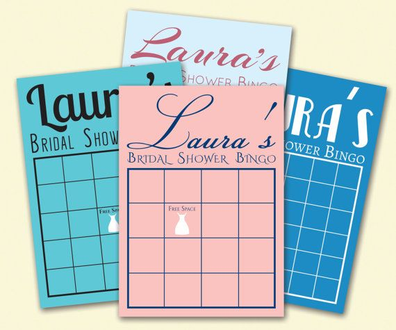 Printable Bridal Shower Game  Bridal Shower Bingo by SimplyScribed, $6.50 Printable Bridal Shower Bingo Cards are a fun and easy Bridal Shower game. Custom Grid Size, Color and Font Style. Great way to add a 'Something Blue' to any Bridal Shower.