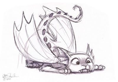 Cat dragon sketch by Eric Scales.