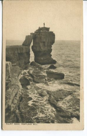 W R Hall Postcard , Pulpit Rock, Portland Bill, animated