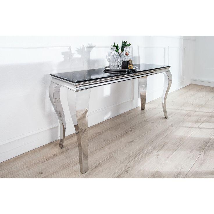 Toaletný stolík/Konzola Modern Barock  Rozmery: 140x50cm  Výška: 75cm  Farba: Strieborná - čierna  Material: Lesklý chróm - opálové sklo  Dizajnové tolaletné stolíky, konzoly, stolíky do predsiene či