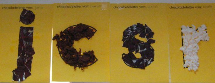 Lettersjablonen, om chocolade letters te maken van propjes of gescheurde stukjes papier