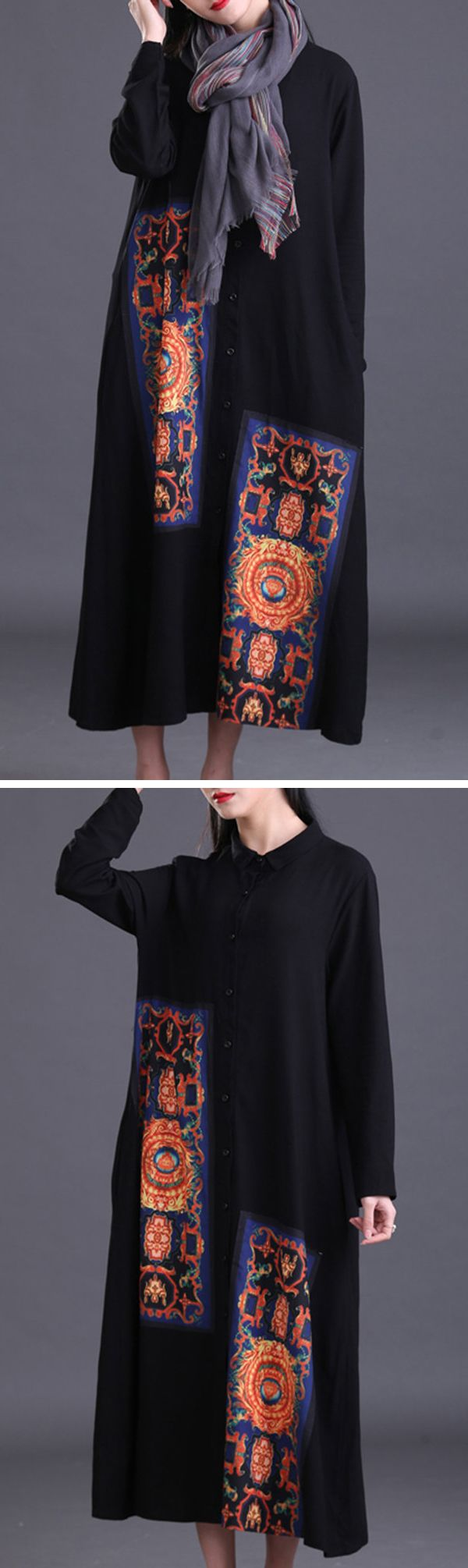 [Newchic Online Shopping] 48% OFF US$ 23.88 Gracila Casual Patchwork Women Shirt Dress