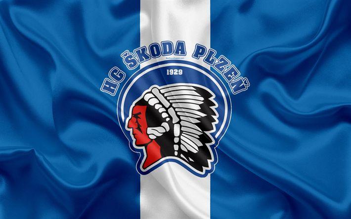 Download wallpapers Plzen HC, 4k, Czech hockey club, emblem, logo, Czech Extraliga, silk flag, hockey, Pilsen, Czech Republic, HC Skoda Plzen