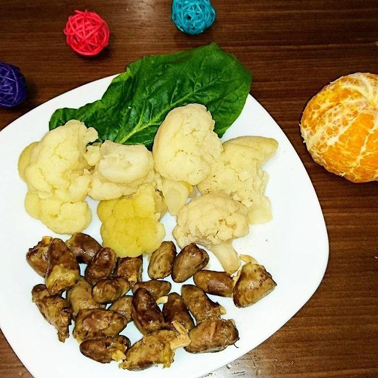 108 отметок «Нравится», 1 комментариев — Irina_pp (@irina_kotrish) в Instagram: «Ужин 🍜 Куриные сердечки на пару + цветная капуста на пару + шпинат + мандарин 🍊 327,92 ккал 📝 Всего…»