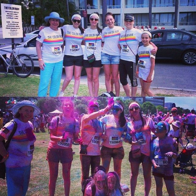 Before and after the colour run!