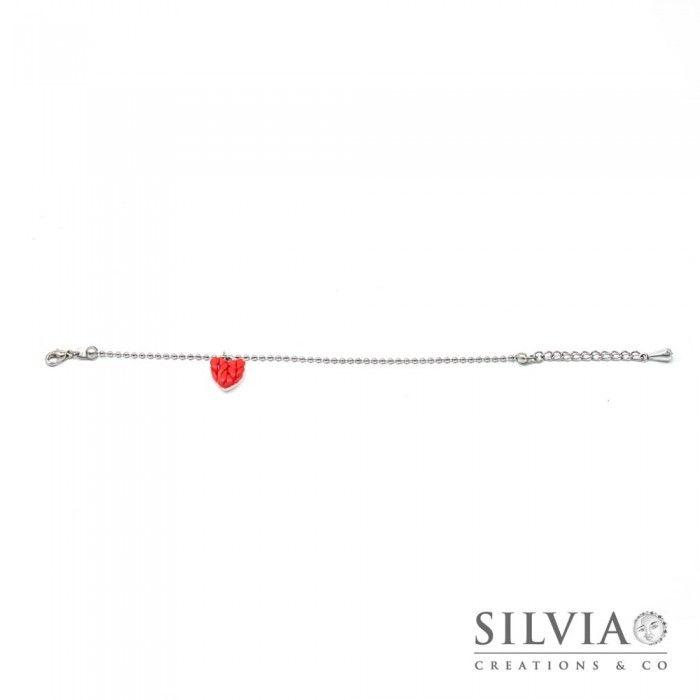 Bracciale catena  acciaio e cuore rosso effetto lana